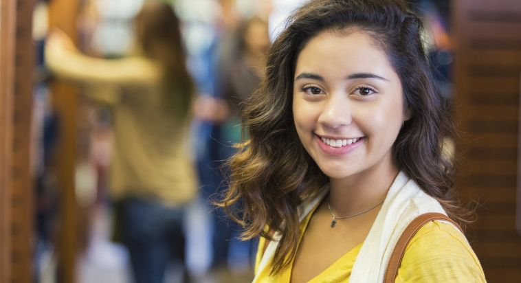 Happy college student