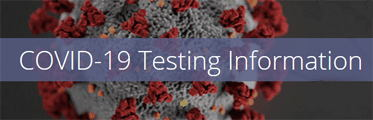 COVID-19 Testing Information. COVID virus on dark gray background.