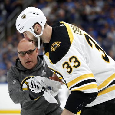 Image for Bruins' Zdeno Chara Uncertain for SCF Game 5 vs. Blues After Taking Puck to Face