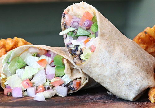 Vegetarian Black Bean Burger Wrap