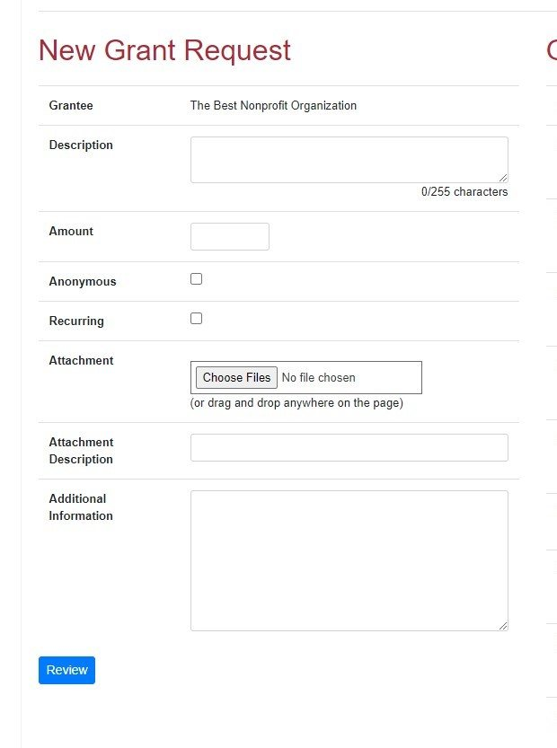 Screen shot of Donor Advised Request Instructions Step 3