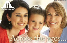 Image of three women, grandmother, mother, and daughter. Words say across the ages...