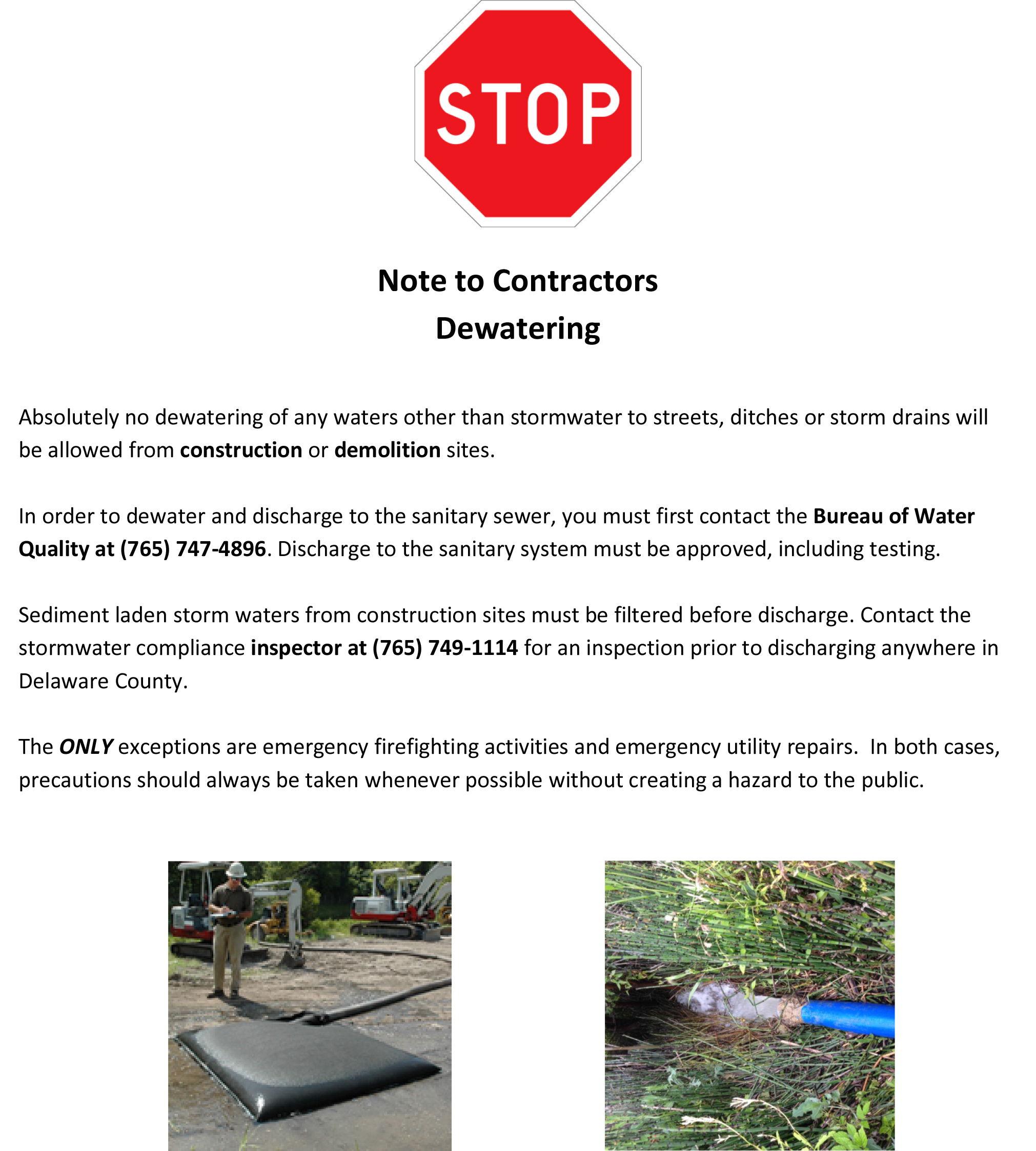 Note to Contractors Dewatering
