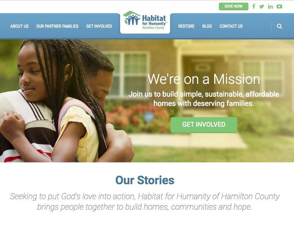 Habitat for Humanity Hamilton County Homepage Donate Button