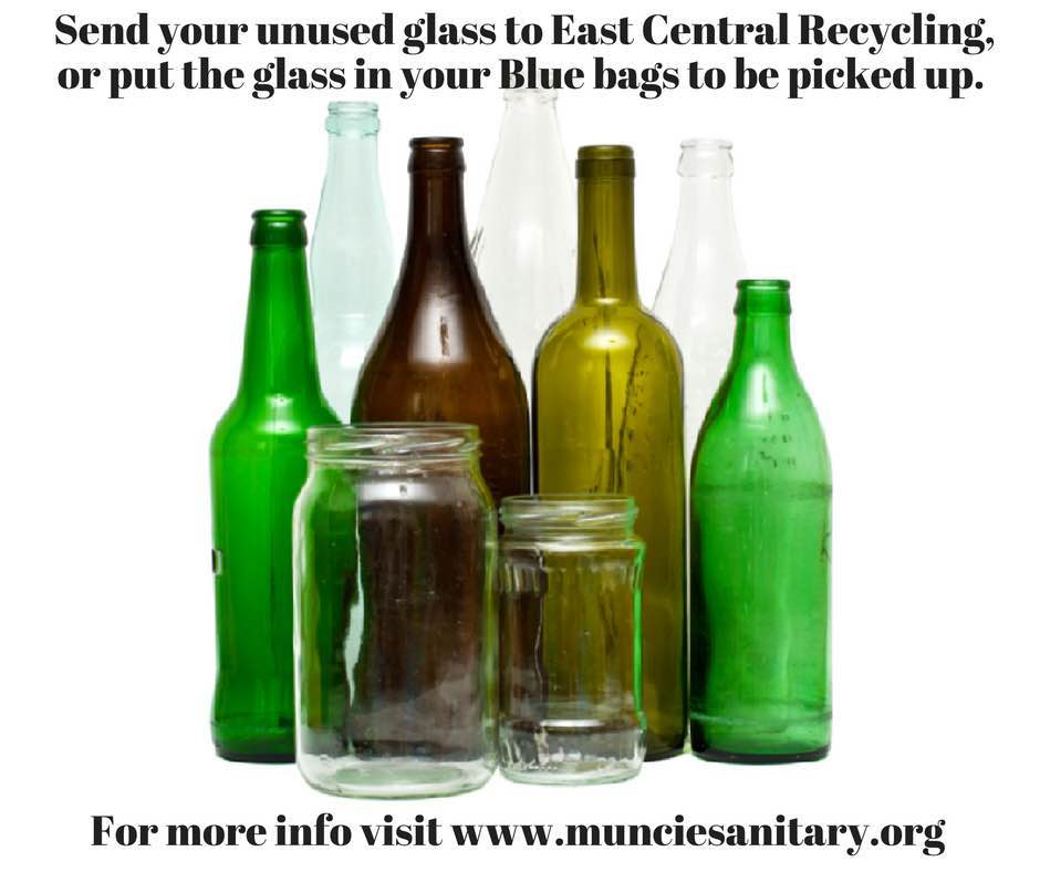 Image of glass items to send to ECR or put in blue bag