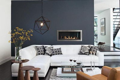 luxury livingroom with two tone walls and white sofa