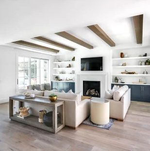 white livingoom with exposed beam ceiling