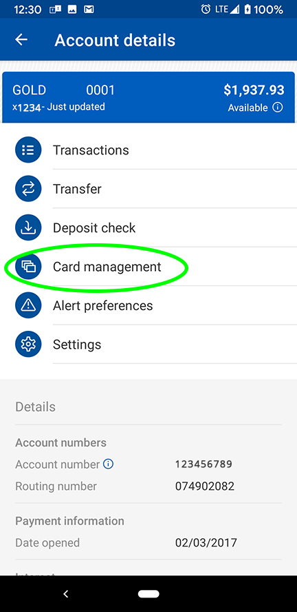 Card Management in Mobile Banking Debit Card Controls