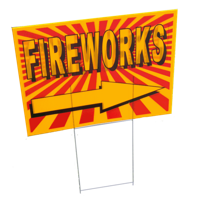 """Image for Yard Sign """"FIREWORKS"""" with Arrow"""