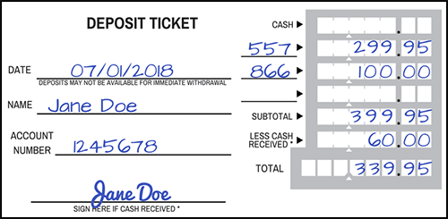 Sample Completed Deposit Slip