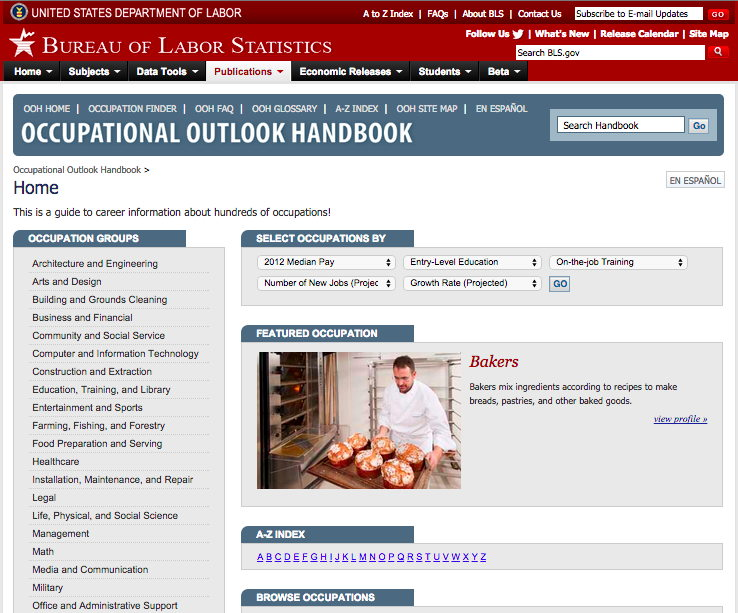 Screenshot of bls.gov