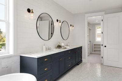 double vanity bathroom with circle mirrors