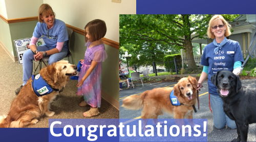 Congratulations! Mary Hall, Bridget the Reading Dog, and Shani provide programs to children.