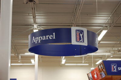 Ceiling Hanging Halo Department Sign