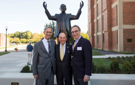 Image for University community honors Ed Hajim '58 with new quadrangle dedication and statue