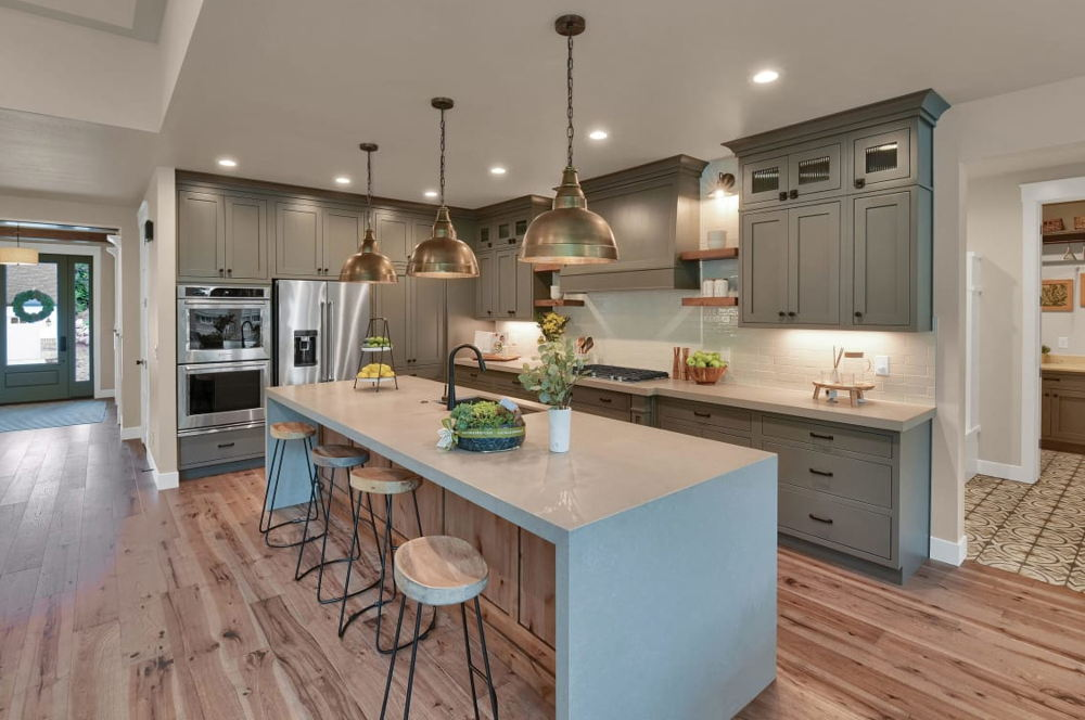 kitchen island with wooden barstools
