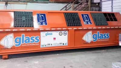 Houston Glass Recycling Bin Vinyl Graphics