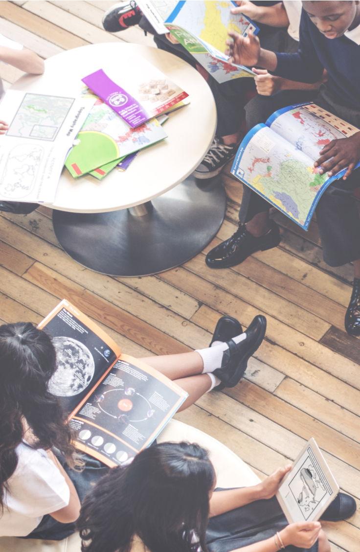 classroom children studying