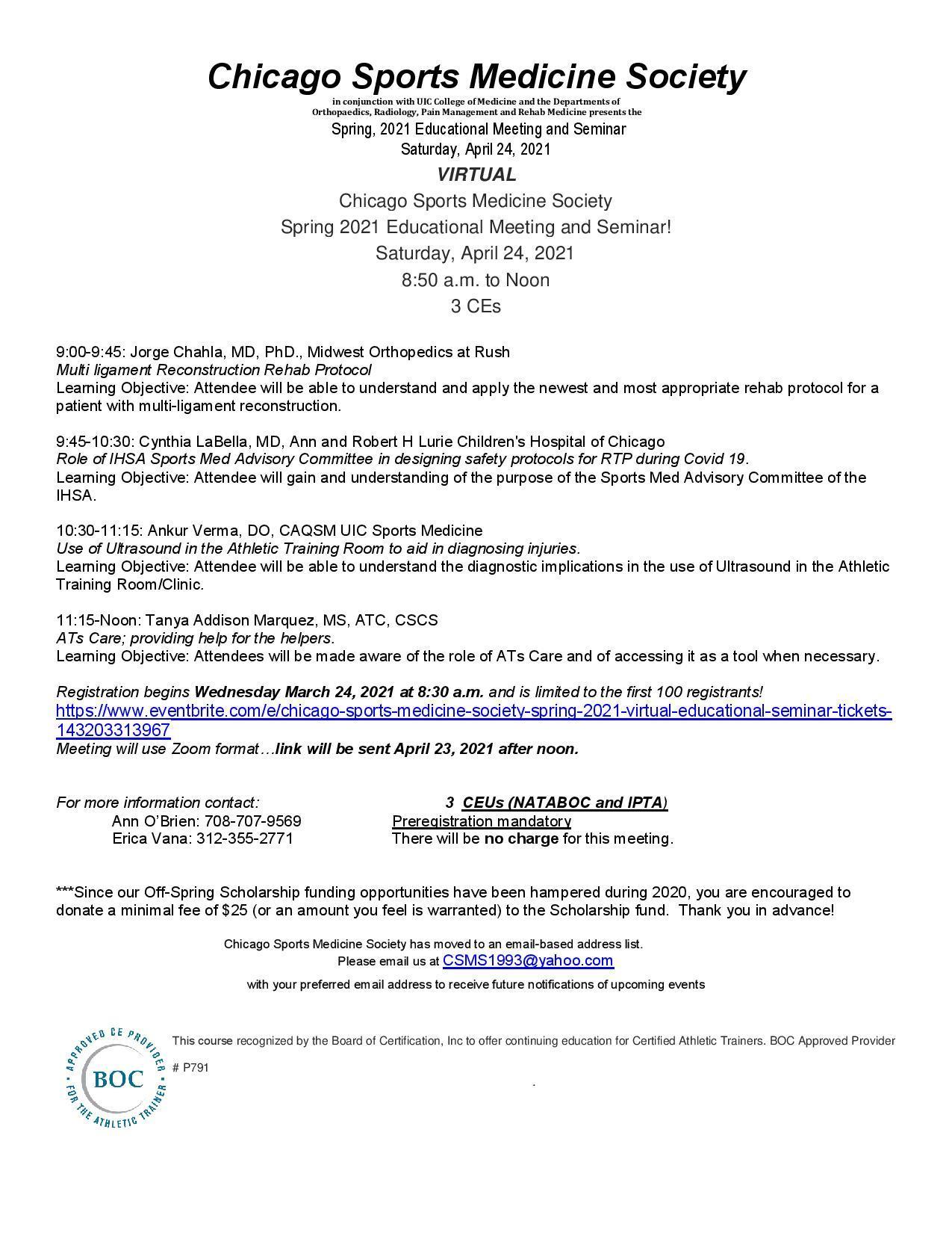 CSMS spring seminar flyer