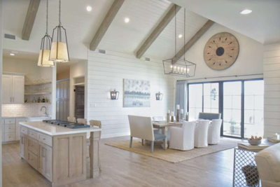 kitchen dining area with chapel ceilings