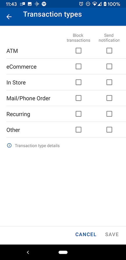 Transaction Type Settings in Mobile Banking Debit Card Controls Menu