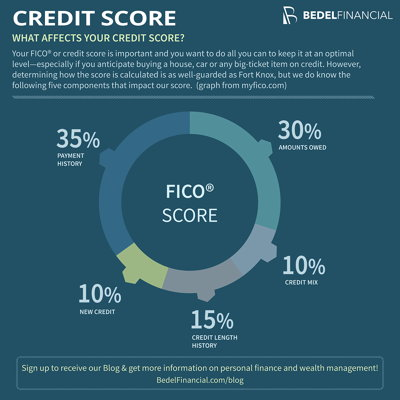 FICO® Credit Score Factors Infographic | Bedel Financial