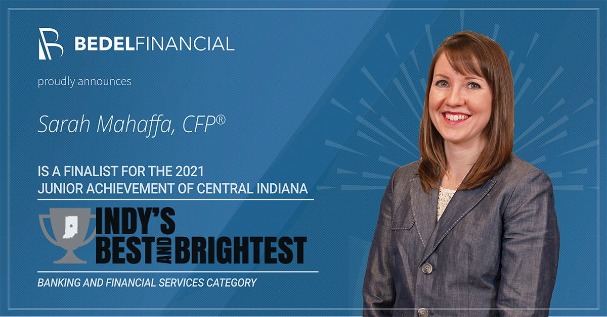 Sarah Mahaffa has been named a finalist for the 2021 Indy's Best and Brightest Awards by Junior Achievement of Central IN.