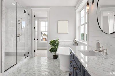beautiful white bathroom with huge shower