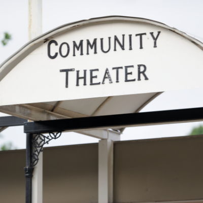 community theater sign