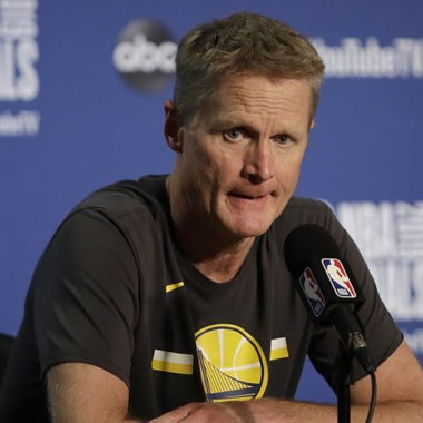 Image for Steve Kerr blasts government's 'gutless leadership' after string of mass shootings, fears practice shooting