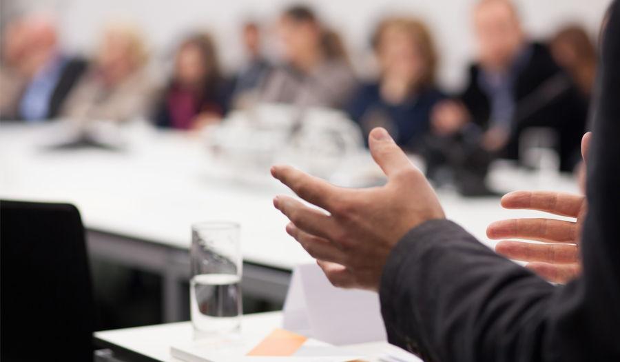 hands of speaker during presentation meeting