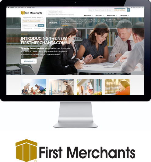 first merchants logo and website on screen