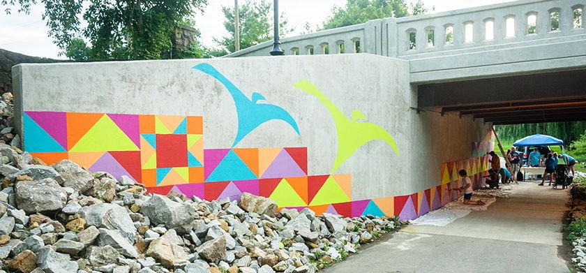 S Main bridge underpass mural