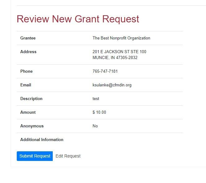 Screen shot of Donor Advised Request Instructions Step 4