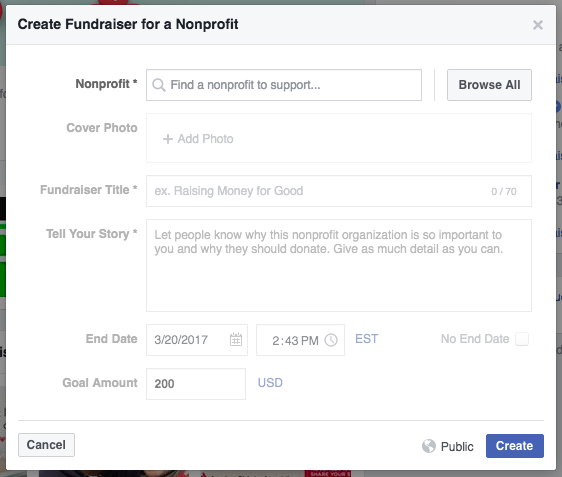 create a fundraiser for nonprofits on facebook