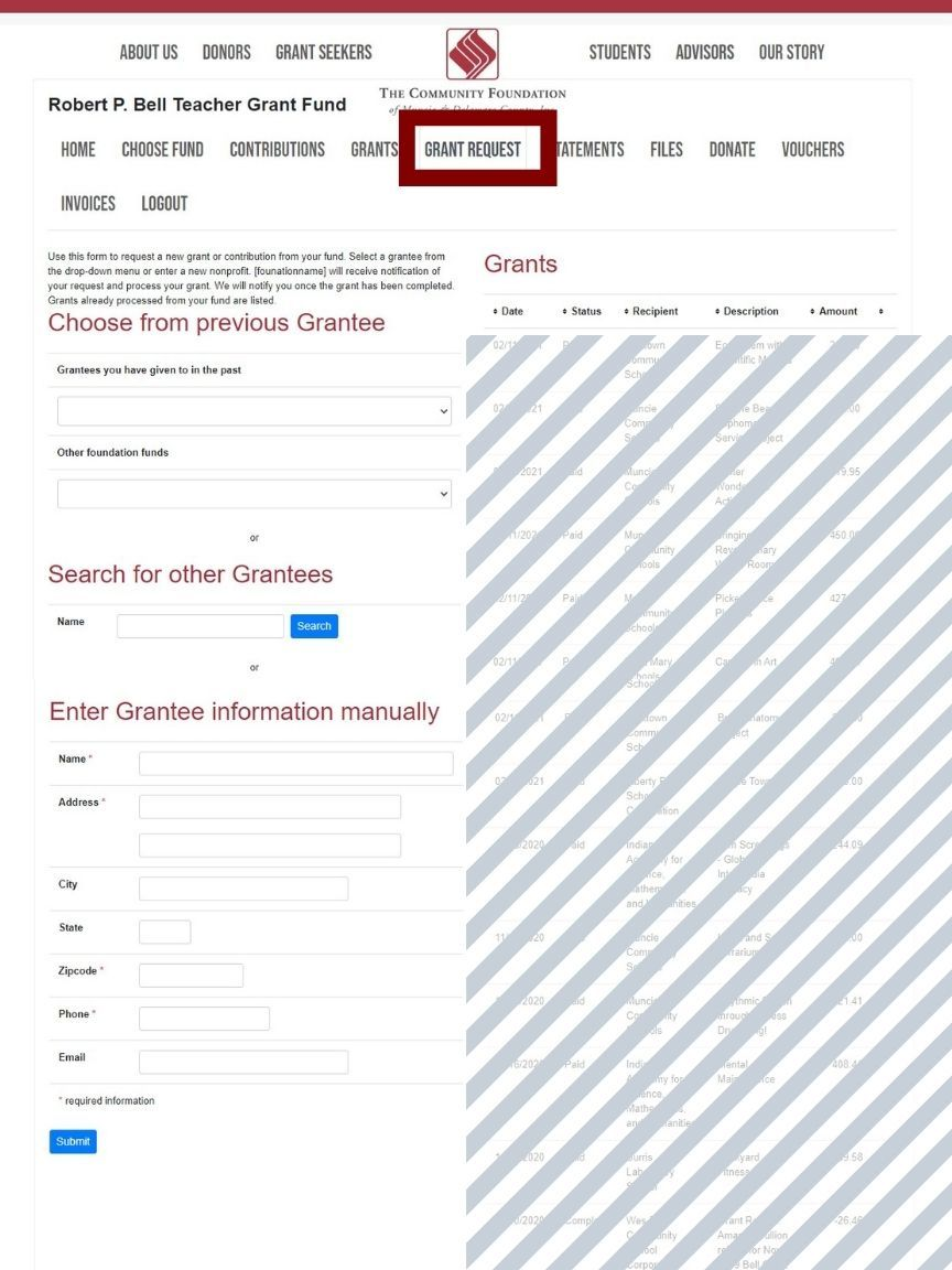 Screen shot of Donor Advised Request Instructions Step 2