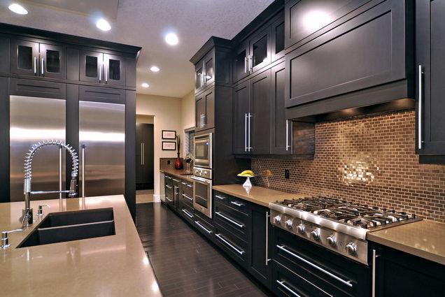 dark kitchen with black cabinets