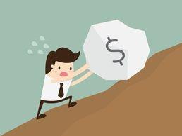 cartoon man pushing money stone uphill