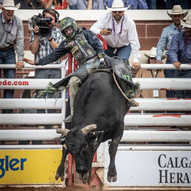 Image for Outlaw rider taking Stampede by storm after having face crushed by bull