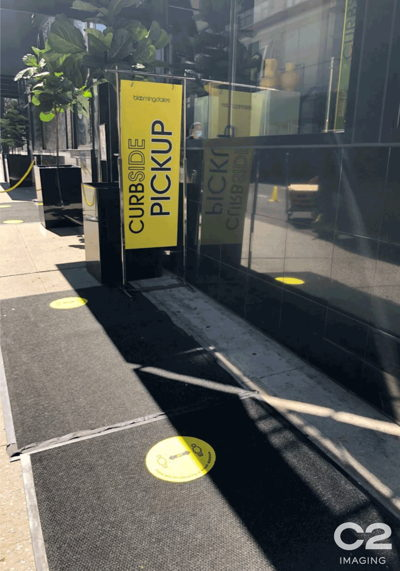 Curbside Pickup Sign Outdoor Banner and Social Distance Floor Graphic