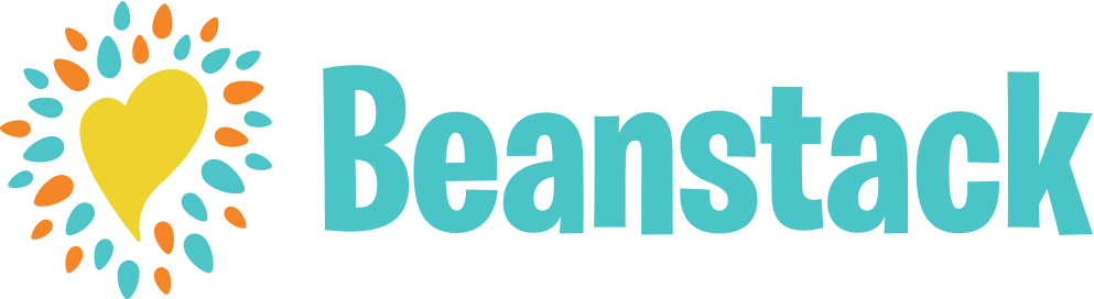 yellow heart surrounded by orange and teal confetti next to the word Beanstack