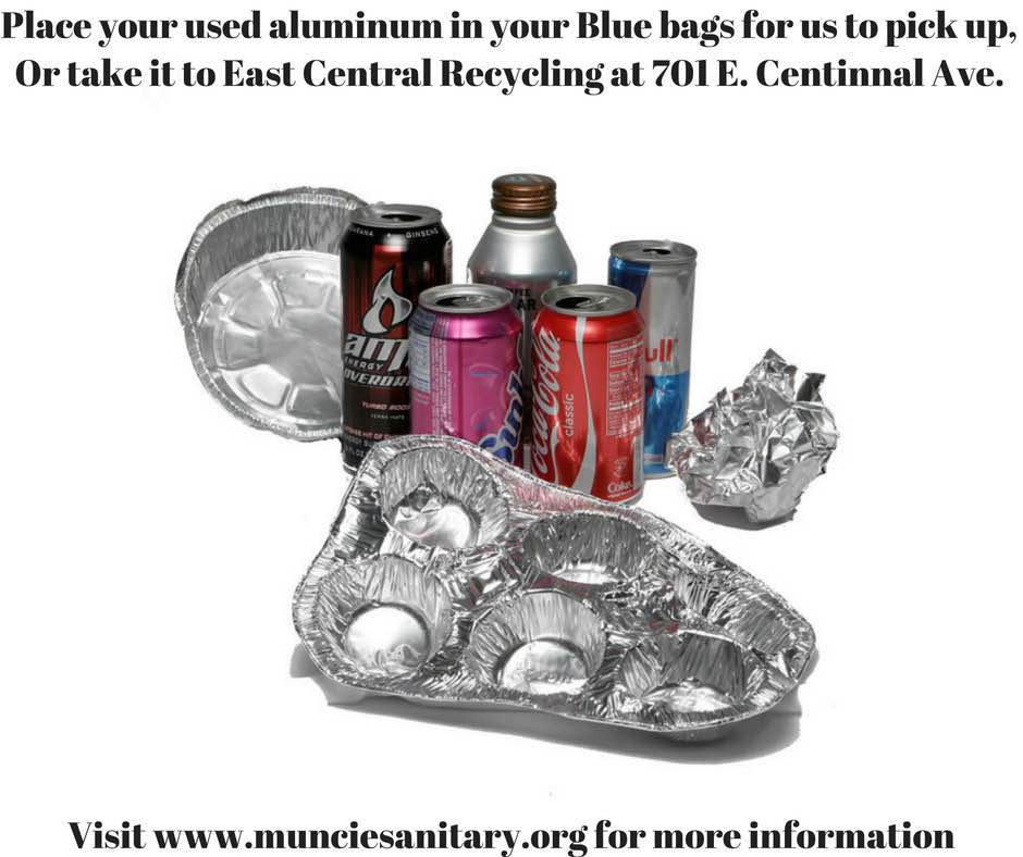 Image of aluminum items to take to ECR or put in blue bag