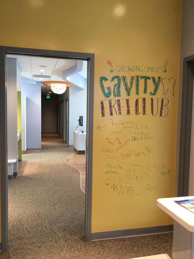 Image of Cavity Free Club wall inside Growing Smiles Valparaiso