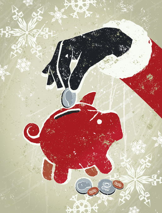 Santa Claus Adding Coin to a Red Piggy Bank Surrounded by Snowflakes