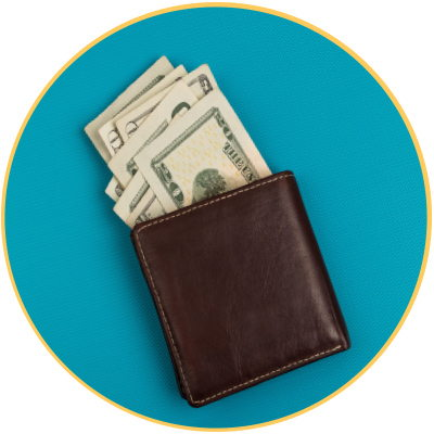 Wallet filled with money
