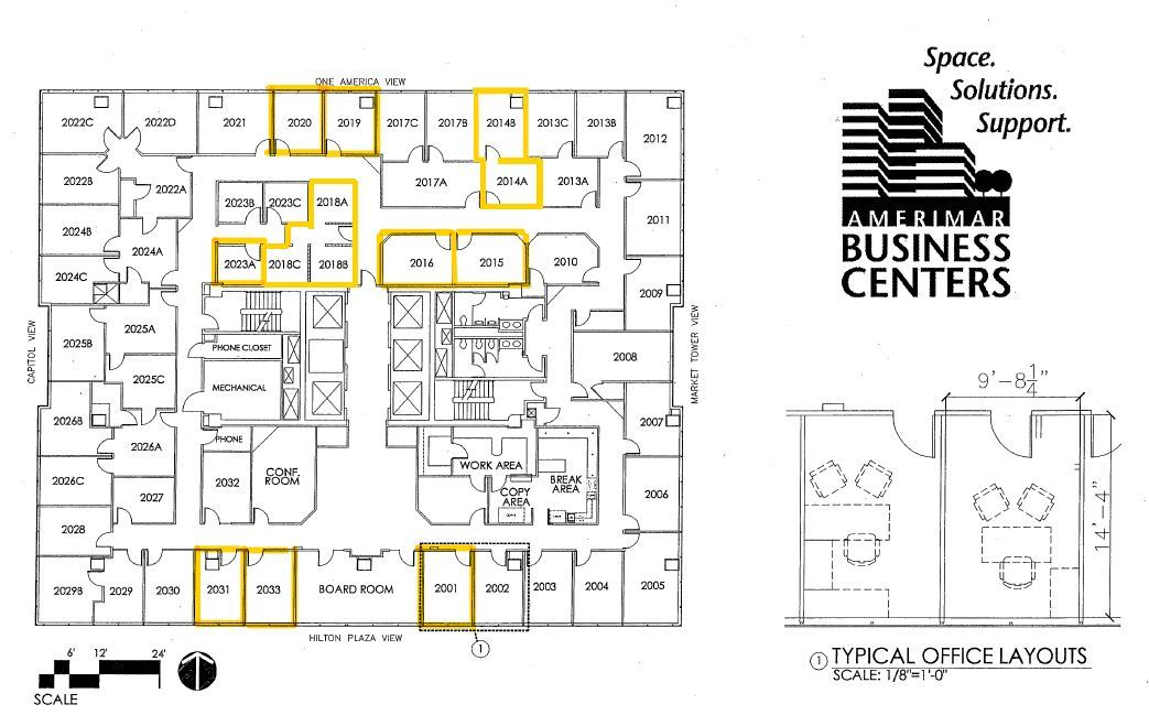 Available Office Spaces Floor Plan
