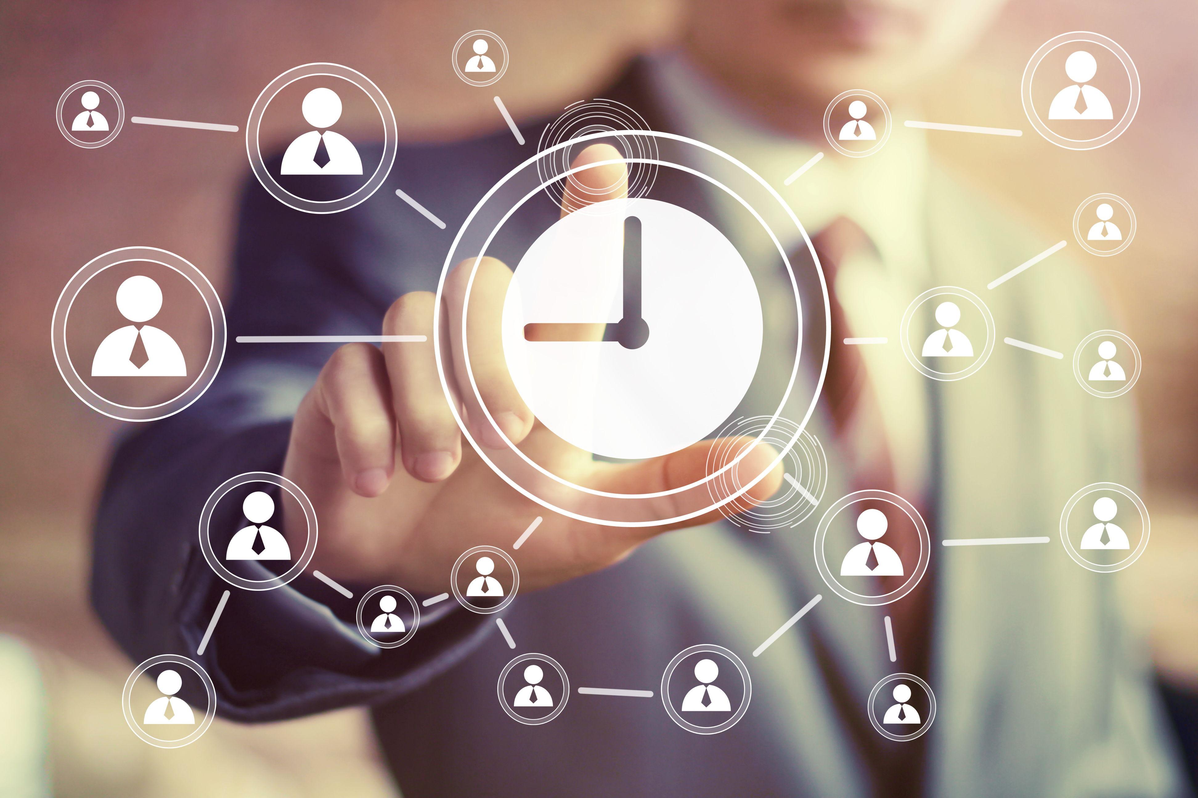 Businessman hand press web clock time sign button
