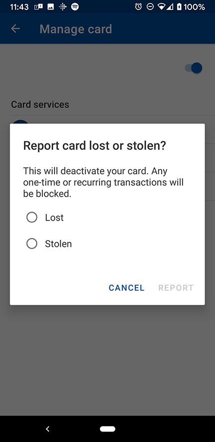 Report Debit Card Lost or Stolen in Mobile Banking Debit Card Controls