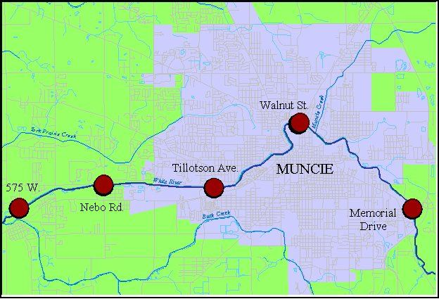 Map of sampling sites on the White River