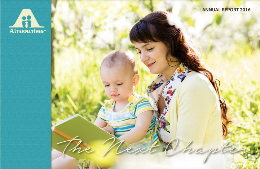 Image of the front cover of the 2016 annual report picturing a mother reading to her toddler age child